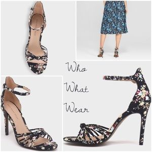 Who What Wear Truth Black Floral Strappy Pumps NWT